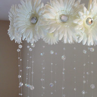 flower baby mobile, baby girl mobile, white mobile, baby mobile, white flower mobile, princess mobile, crystal baby mobile