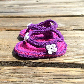 Purple And Pink Baby Girl Crochet Sandals 0-3 months Baby Girl Summer Sandal Shoes Crochet items