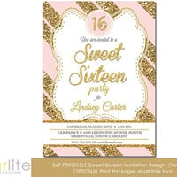 Pink Gold Sweet Sixteen invitation - Pink Gold Glitter Stripes - 5x7 Unique Sweet 16 Quinces birthday invitation - vintage style - You Print