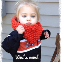 Harley Orange Cowl for Baby Toddler or Child Hand Knit Neck Warmer Cowl Scarf Summer infinity