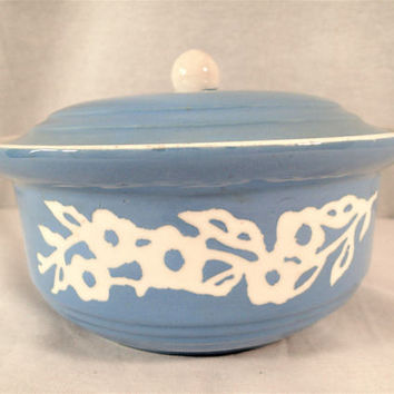 Harker CameoWare Covered Casserole Dainty Flower Shell Shape or Swirl, Blue with Branch of White flowers stoneware Shabby Cottage Chic