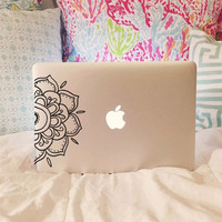 Half Mandala Decal - Mandala Decal - Laptop Decal - Car Decal - iPad Decal - Vinyl Decal - Girly Decal - Macbook Decal - Laptop Sticker