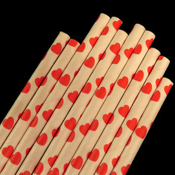Red Heart Straws, Valentines Day Decorations, Hearts, Wedding Decor, Bridal Shower, 10CT, Love, Party
