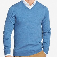 Yorkshire Merino Slim - V-Neck - Blue
