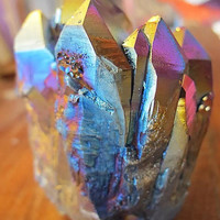 Flame Aura Quartz Crystal cluster (Titanium treated)
