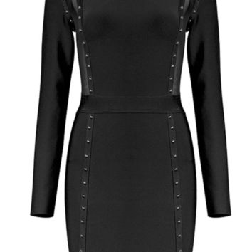 'Meilania' Sheer Studded Mesh Mini Dress - Black