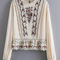 Off White Floral Fringed Openwork Blouse