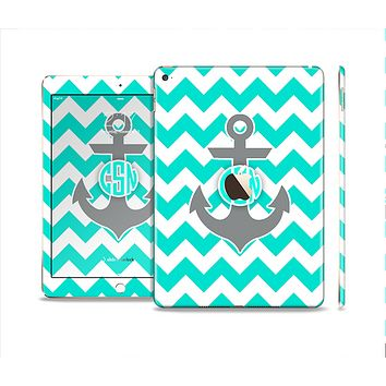 The Teal Green and Gray Monogram Anchor on Teal Chevron Skin Set for the Apple iPad Air 2