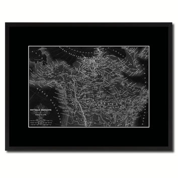 Canada Alaska Vintage Monochrome Map Canvas Print, Gifts Picture Frames Home Decor Wall Art