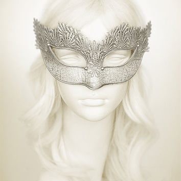 Pure Silver Lace Masquerade Mask With Brocade Fabric - Venetian Style Mask With Embroidery - For Masquerade Ball, Prom, Wedding