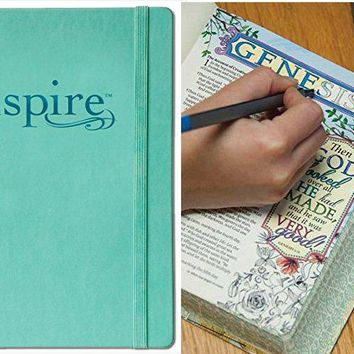 Inspire Bible NLT: The Bible for Creative Journaling Blue Hard Back