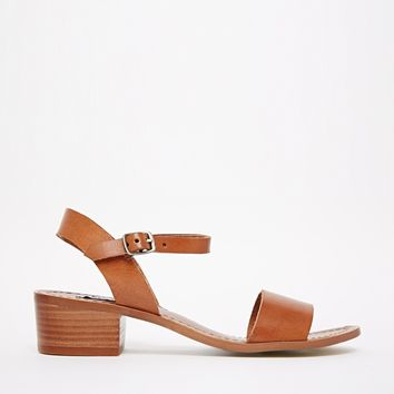 Steve Madden Dence Leather Mid Heel 2 Part Sandals at asos.com