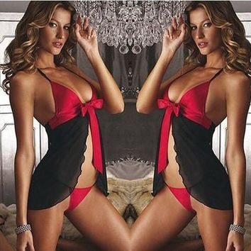 Hot Deal On Sale Cute Transparent Lace Sexy Sleepwear Split Hairband Exotic Lingerie [6595473347]