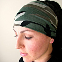 Camouflage Workout Headband, Stretchy head band, Jersey camo print Exercise Headwrap