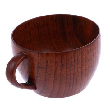 210ml Coffee Cup Natural Jujube Wooden Cup with Handgrip Wine Beer Milk Tea Cup for Home Bar Kitchen Accessories