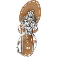 Silver gem embellished sandals - flat sandals - shoes / boots - women