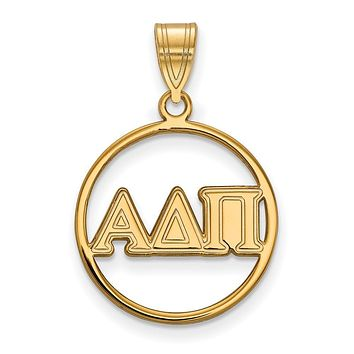14K Plated Silver Alpha Delta Pi Large Circle Pendant