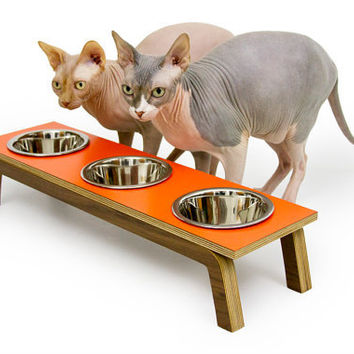 Mid Century Modern Pet Feeder with TRIPLE by modernistcat on Etsy
