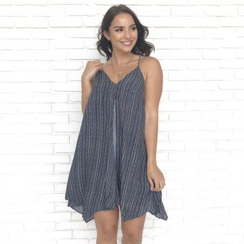 Want It All Summer Navy Print Dress