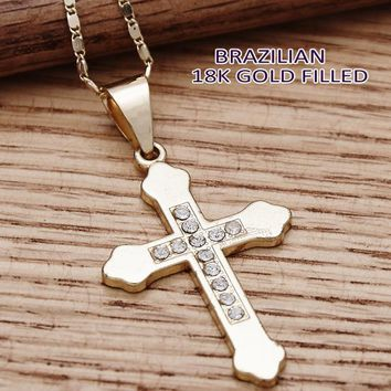 Gold Tone Women Cross Fancy Necklace, with White Crystal, by Folks Jewelry