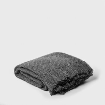 Alpaca Basketweave Throw - Charcoal