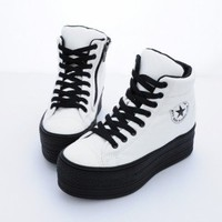 Maxstar C50 Taller Insole Black Platform Sneakers White