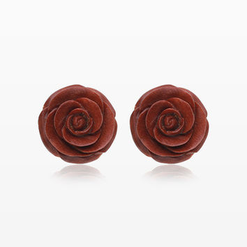 A Pair of Brown Rosebud Blossom Handcarved Wood Earring Stud