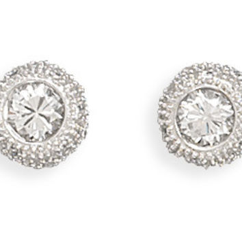 Rhodium Plated 6mm Round Cubic Zirconia/pave Side Post Earrings