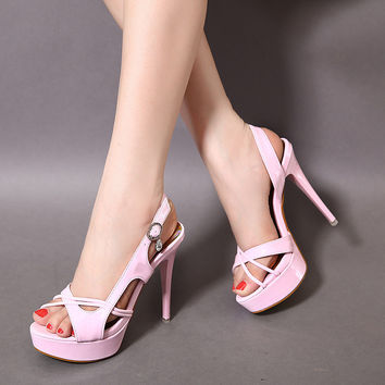 Design Summer High Heel Korean Peep Toe Sandals = 4805010372