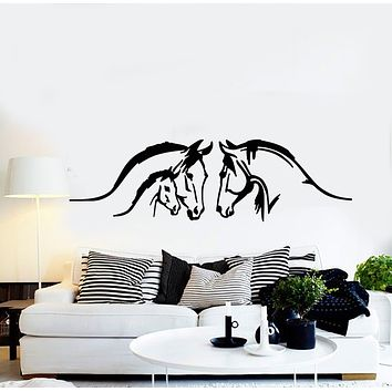 Vinyl Wall Decal Beautiful Horses Family Animal House Pets Stickers Mural (g761)