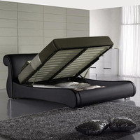 Queen Black Leatherette Storage Bed