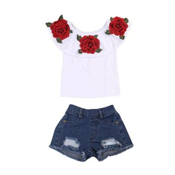Rose Off the Shoulder Top and Jean Shorts