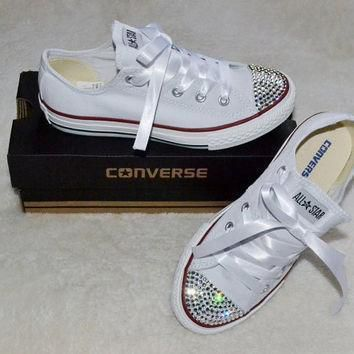 custom crystal white low top all star converse blinged crystal toes ribbon laces chil