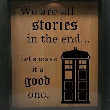 "Wooden Shadow Box Wine Cork/Bottle Cap Holder 9""x11"" - We Are All Stories in the end"