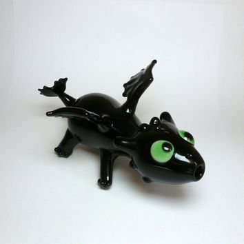 Handmade Toothless Night Fury Dragon Sculptural Art Spoon Pipe