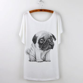 Cute Funny Pug Print Women T-Shirt