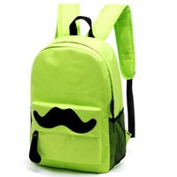 Simple Unisex Moustache Travel School Bag Backpack Rucksack