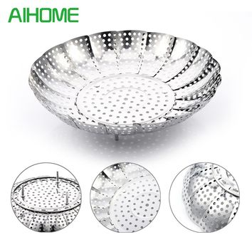 Stainless Steel Retractable Bamboo Steamer  Poacher Cooker Steaming Tray  Food Fruit Vegetable Bowl Basket Kitchen Accessories