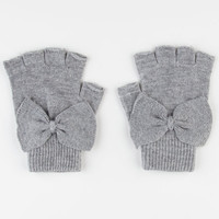Bow Fingerless Gloves Grey One Size For Women 22368211501