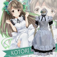 Love Live Wonder Zone Kotori Minami Maid Uniform Cosplay Costume Full Set Performance Lolita Dress ( Dress + Apron + Headwear )