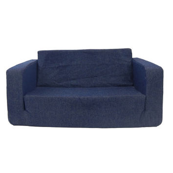 Fun Furnishing Toddler Flip Sofa Denim