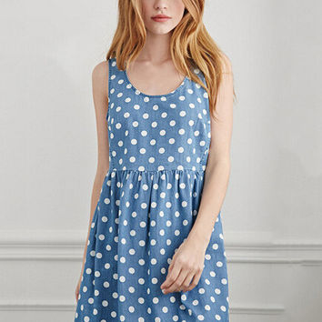 Blue Polka Dot Sleeveless Shirtwaist A-Line Denim Mini Dress