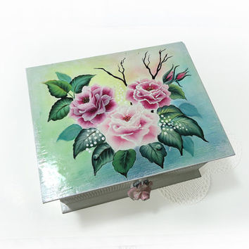 Storage jewelry Trinket box with Original One Stroke Painting and Lock