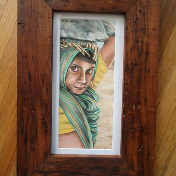 Framed original art - Colored pencil art - Afghan girl - Pencil drawing - Rustic decor - Small artwork - Wall hanging - Custom drawing - Art