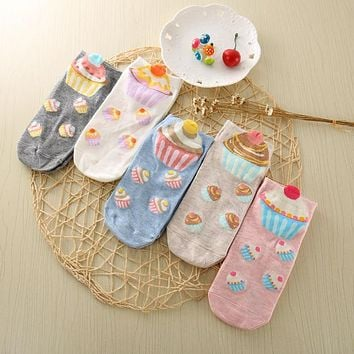 5 color Cute 3D Cake Pattern Novelty Fun Socks Casual Cotton Material Comfort Breathable Candy-colored Woman Socks Calcetines
