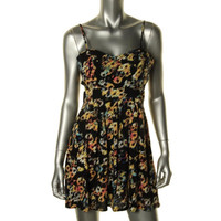 Material Girl Womens Juniors Printed Cut-Out Sundress