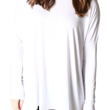 Authentic Piko Long Sleeve Top, White