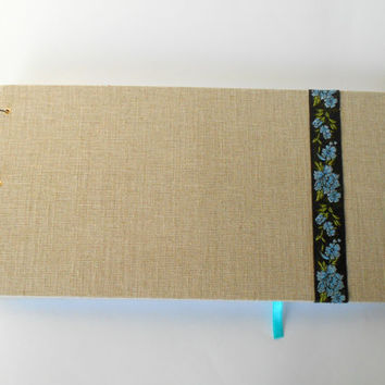 Landscape sketchbook- hardcover fabric sketchbook journal with 200 pages,rustic sketchbook- personilized journal with album rings