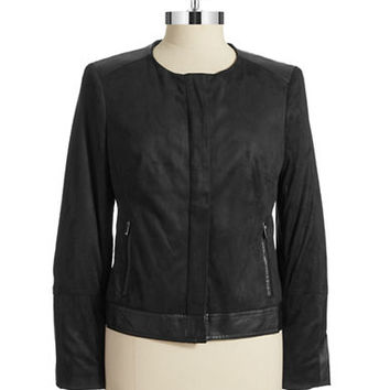 Faux Suede Leather Jacket