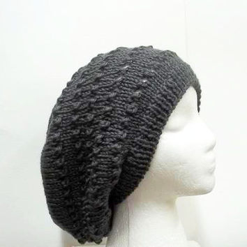 Gray slouch hat with eyelets hand knitted hat large size 5260